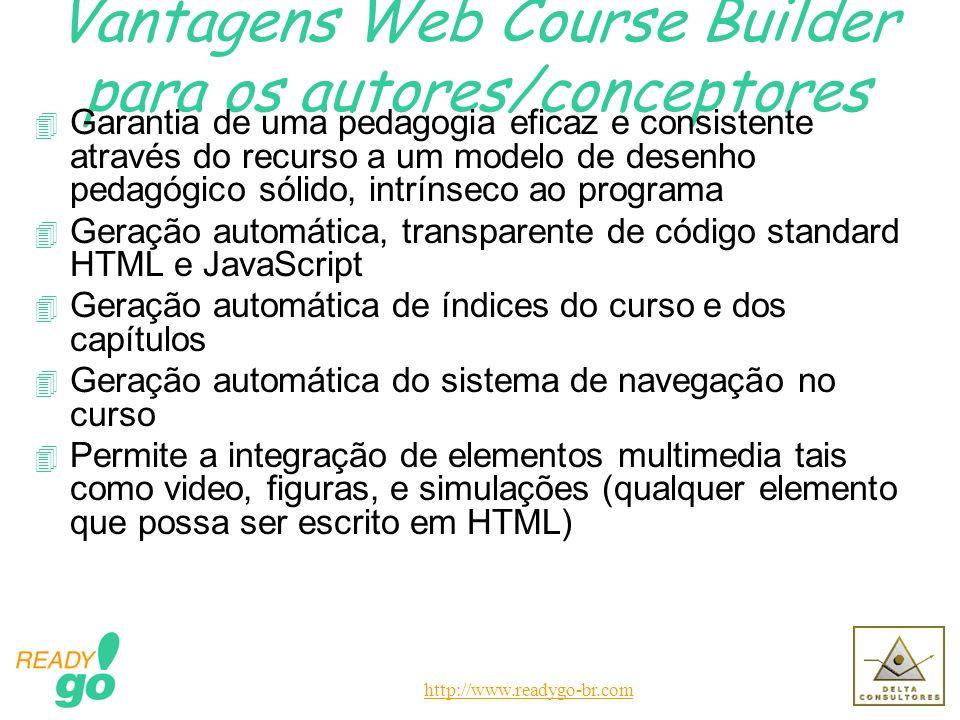 http://www.readygo-br.com Vantagens Web Course Builder para o formando 4 Acessível com recurso qualquer browser - não requer programa específico para a aprendizagem 4 Não exige plug-ins 4 Download rápido 4 Fácil e intuitiva navegação 4 Eficácia na aprendizagem através do modelo pedagógico intrínseco