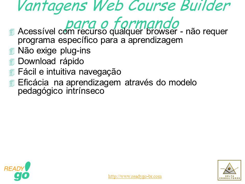 http://www.readygo-br.com Vantagens Web Course Builder para o formando 4 Acessível com recurso qualquer browser - não requer programa específico para