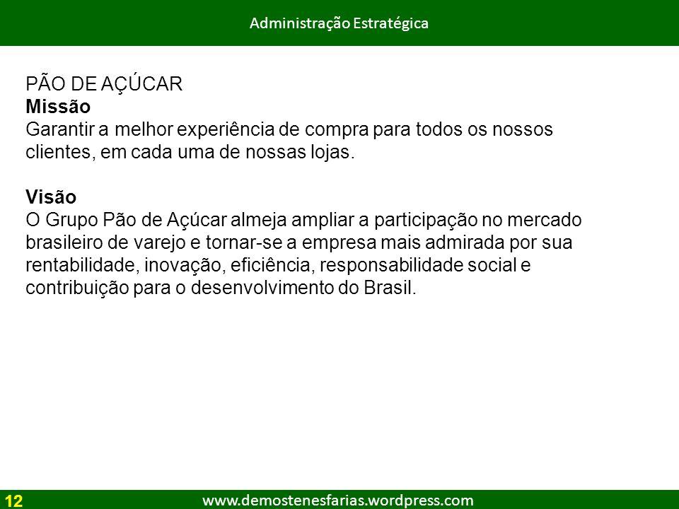 www.demostenesfarias.wordpress.com Administração Estratégica PÃO DE AÇÚCAR Missão Garantir a melhor experiência de compra para todos os nossos cliente