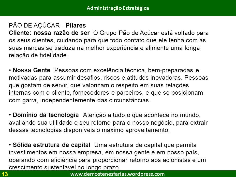 www.demostenesfarias.wordpress.com Administração Estratégica PÃO DE AÇÚCAR - Pilares Cliente: nossa razão de ser O Grupo Pão de Açúcar está voltado pa