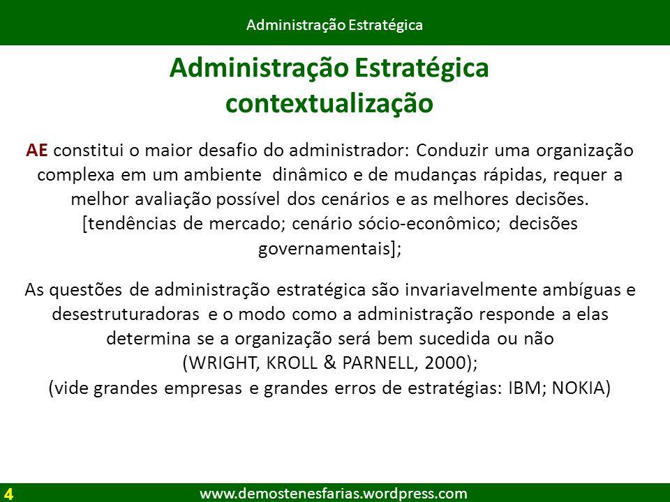 www.demostenesfarias.wordpress.com Administração Estratégica contextualização AE constitui o maior desafio do administrador: Conduzir uma organização