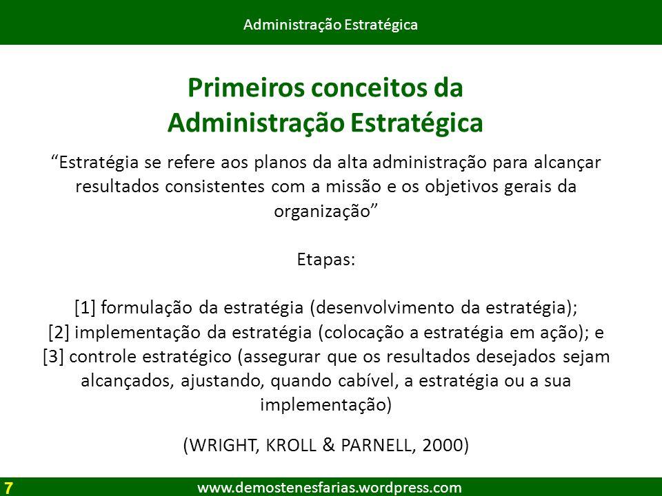 www.demostenesfarias.wordpress.com Administração Estratégica Passos da Administração Estratégica AE implica na determinação da missão e objetivos da organização no contexto de seus ambiente externo e interno.