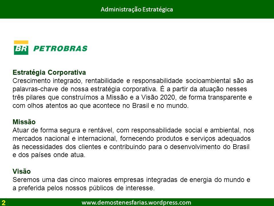 www.demostenesfarias.wordpress.com Administração Estratégica 2 Estratégia Corporativa Crescimento integrado, rentabilidade e responsabilidade socioamb