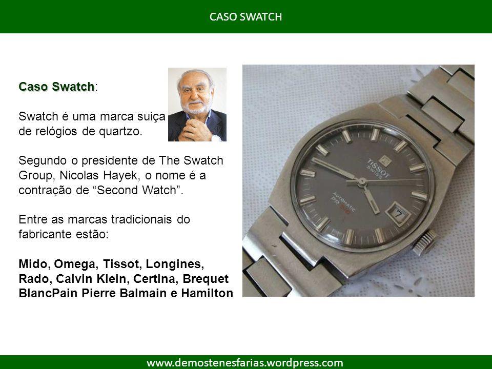 CASO SWATCH www.demostenesfarias.wordpress.com Caso Swatch Caso Swatch: Swatch é uma marca suiça de relógios de quartzo. Segundo o presidente de The S