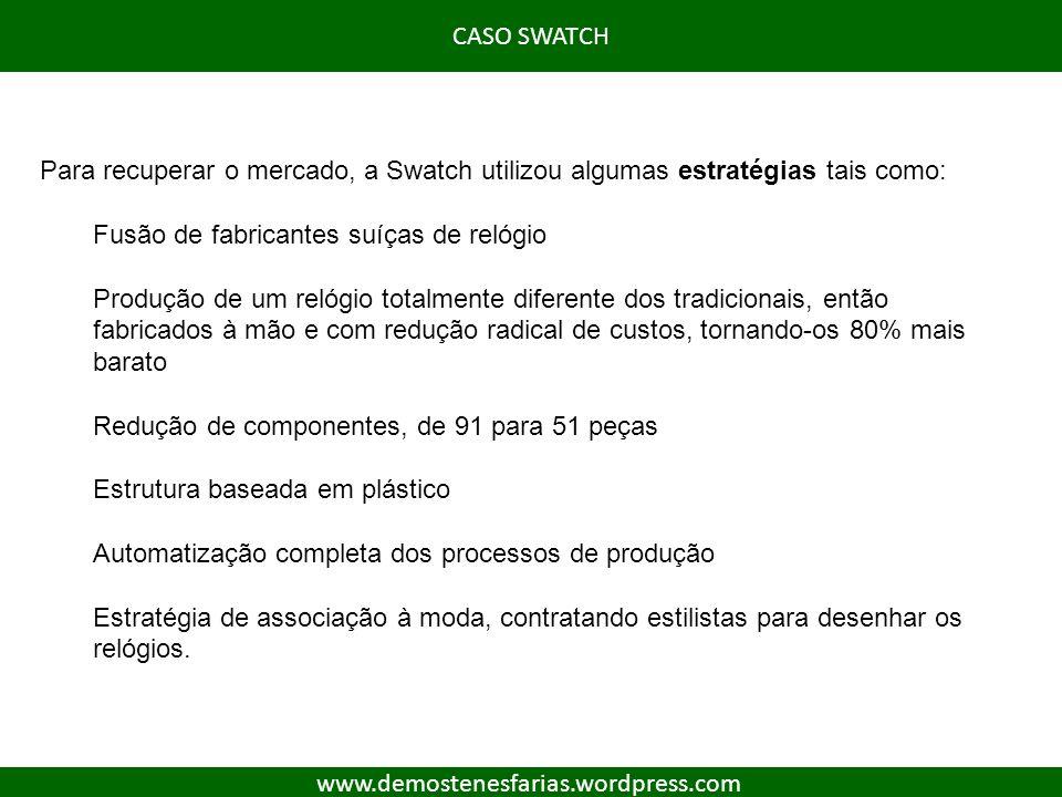 Para recuperar o mercado, a Swatch utilizou algumas estratégias tais como: Fusão de fabricantes suíças de relógio Produção de um relógio totalmente di