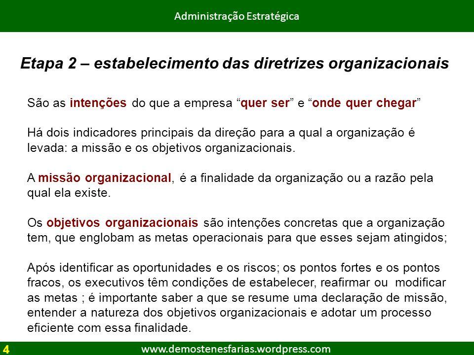 www.demostenesfarias.wordpress.com Administração Estratégica Etapa 2 – estabelecimento das diretrizes organizacionais São as intenções do que a empres