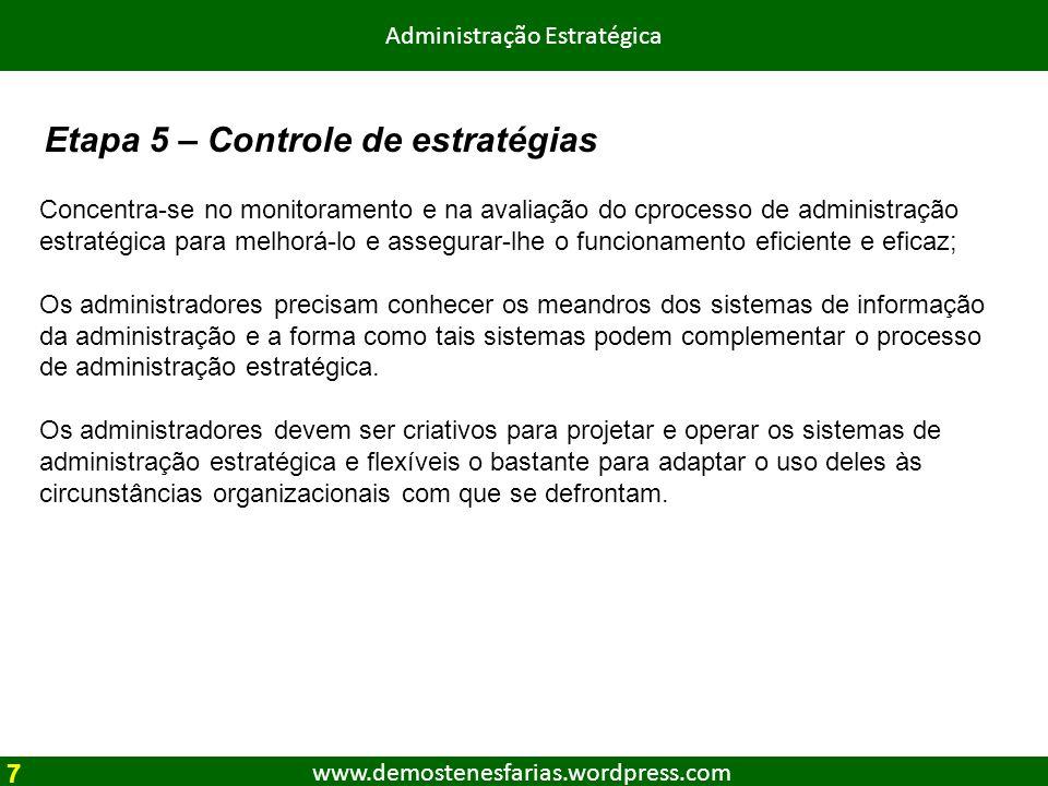 www.demostenesfarias.wordpress.com Administração Estratégica Concentra-se no monitoramento e na avaliação do cprocesso de administração estratégica pa