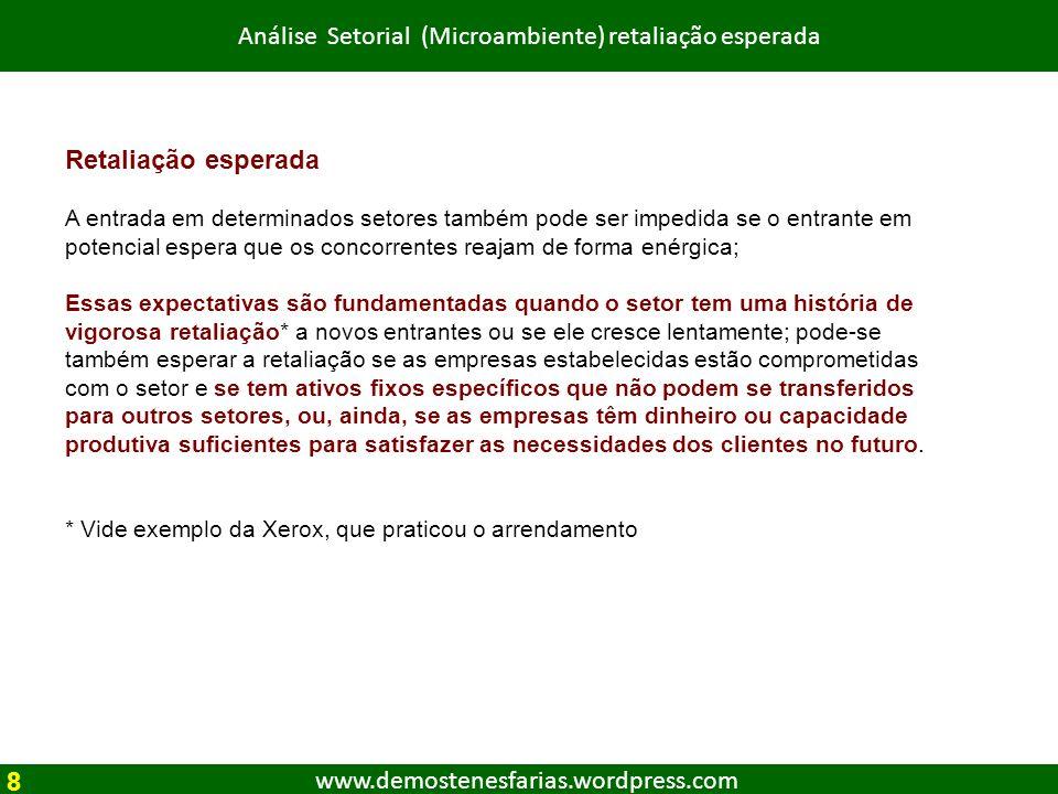 www.demostenesfarias.wordpress.com Análise Setorial (Microambiente) retaliação esperada Retaliação esperada A entrada em determinados setores também p