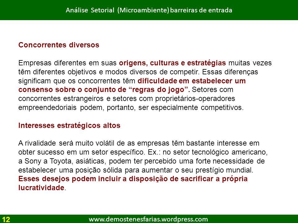www.demostenesfarias.wordpress.com Análise Setorial (Microambiente) barreiras de entrada Concorrentes diversos Empresas diferentes em suas origens, cu