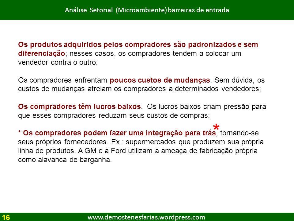 www.demostenesfarias.wordpress.com Análise Setorial (Microambiente) barreiras de entrada Os produtos adquiridos pelos compradores são padronizados e s