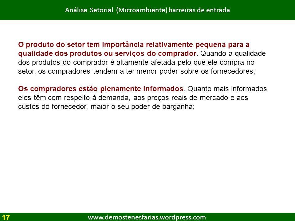 www.demostenesfarias.wordpress.com Análise Setorial (Microambiente) barreiras de entrada O produto do setor tem importância relativamente pequena para