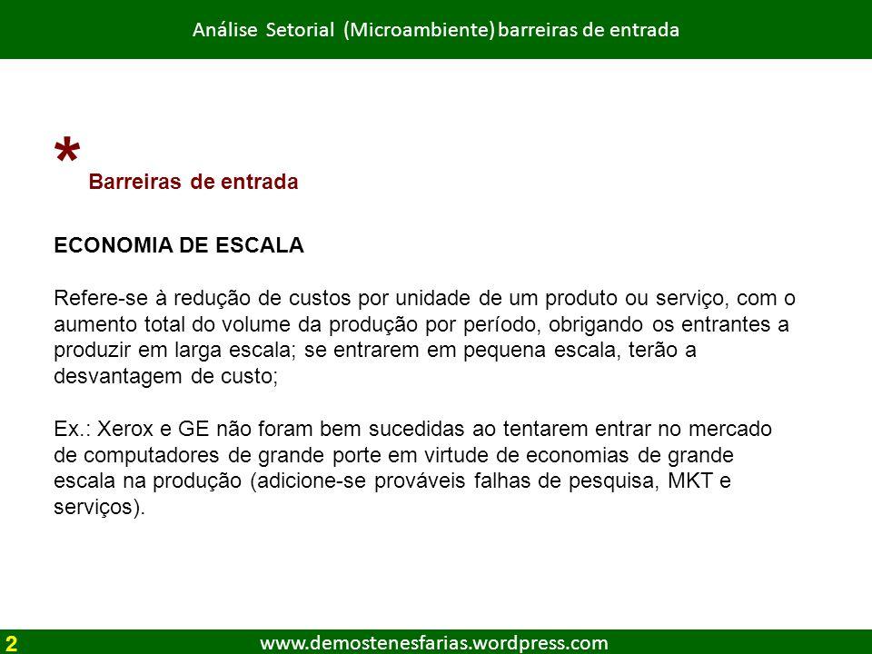 www.demostenesfarias.wordpress.com Análise Setorial (Microambiente) barreiras de entrada * Barreiras de entrada ECONOMIA DE ESCALA Refere-se à redução
