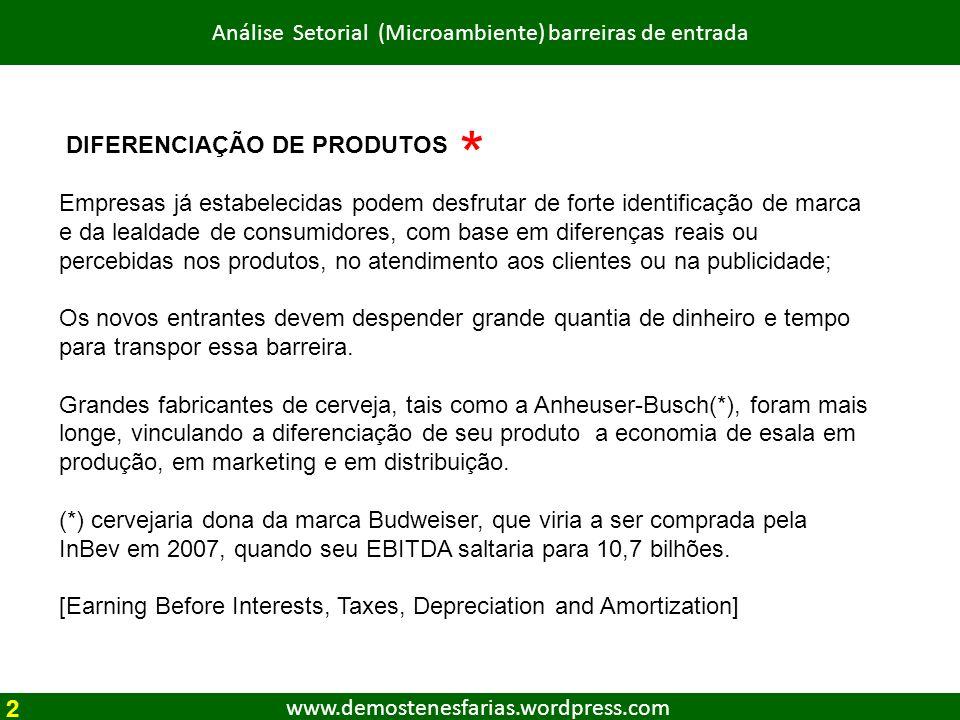 www.demostenesfarias.wordpress.com Análise Setorial (Microambiente) barreiras de entrada DIFERENCIAÇÃO DE PRODUTOS Empresas já estabelecidas podem des