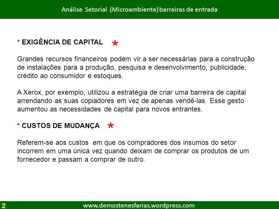 www.demostenesfarias.wordpress.com Análise Setorial (Microambiente) barreiras de entrada * EXIGÊNCIA DE CAPITAL Grandes recursos financeiros podem vir