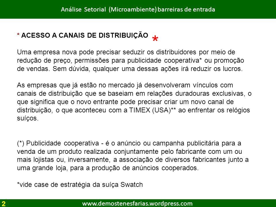 www.demostenesfarias.wordpress.com Análise Setorial (Microambiente) barreiras de entrada * ACESSO A CANAIS DE DISTRIBUIÇÃO Uma empresa nova pode preci