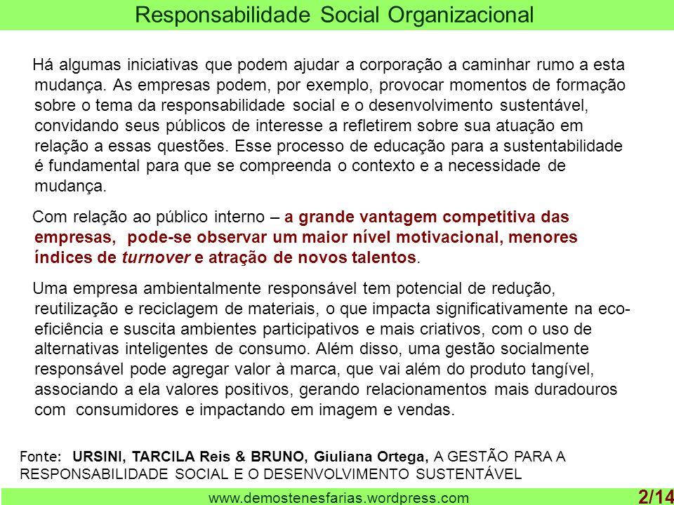 www.demostenesfarias.wordpress.com Responsabilidade na gestão do público interno 3/14 Quando a ética empresarial é assumida estrategicamente como perspectiva, isso significa que a empresa tem um estilo correto de fazer negócios.