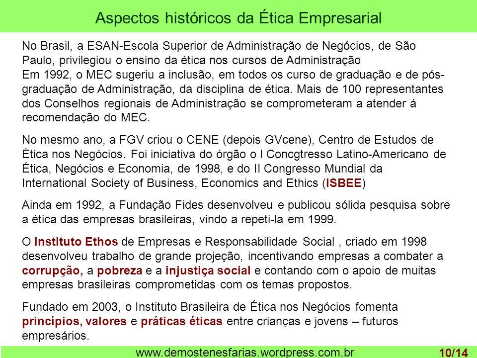 Aspectos históricos da Ética Empresarial 1 www.demostenesfarias.wordpress.com.br No Brasil, a ESAN-Escola Superior de Administração de Negócios, de São Paulo, privilegiou o ensino da ética nos cursos de Administração Em 1992, o MEC sugeriu a inclusão, em todos os curso de graduação e de pós- graduação de Administração, da disciplina de ética.