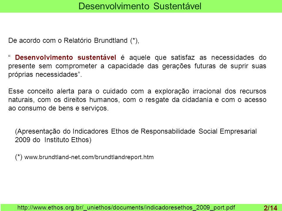 1 http://www.ethos.org.br/_uniethos/documents/indicadoresethos_2009_port.pdf (Apresentação do Indicadores Ethos de Responsabilidade Social Empresarial 2009 do Instituto Ethos) (*) www.brundtland-net.com/brundtlandreport.htm De acordo com o Relatório Brundtland (*), Desenvolvimento sustentável é aquele que satisfaz as necessidades do presente sem comprometer a capacidade das gerações futuras de suprir suas próprias necessidades.
