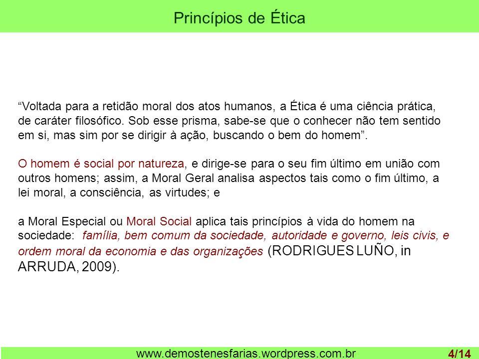 Princípios de Ética 1 www.demostenesfarias.wordpress.com.br Voltada para a retidão moral dos atos humanos, a Ética é uma ciência prática, de caráter f