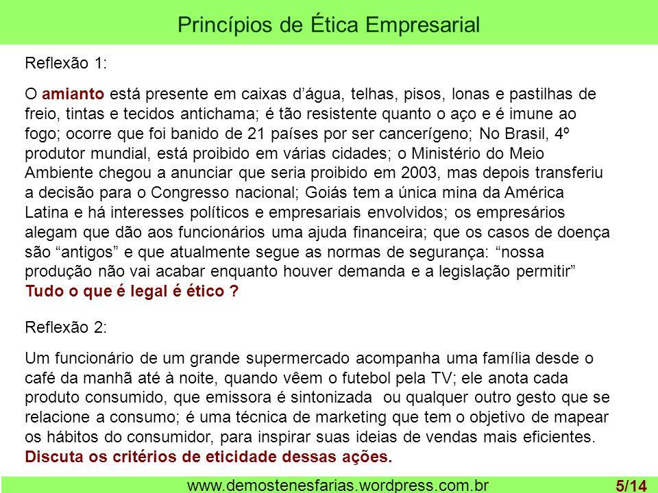 Princípios de Ética Empresarial 1 www.demostenesfarias.wordpress.com.br Reflexão 1: O amianto está presente em caixas dágua, telhas, pisos, lonas e pa