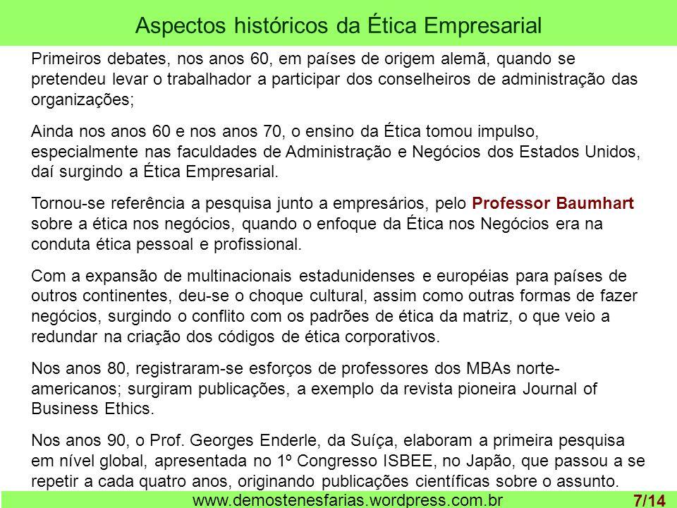 Aspectos históricos da Ética Empresarial 1 www.demostenesfarias.wordpress.com.br Primeiros debates, nos anos 60, em países de origem alemã, quando se