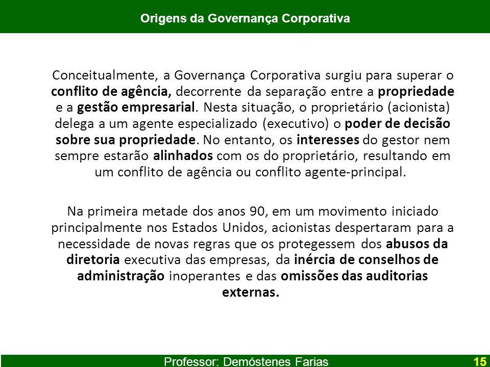 Conceitualmente, a Governança Corporativa surgiu para superar o conflito de agência, decorrente da separação entre a propriedade e a gestão empresaria