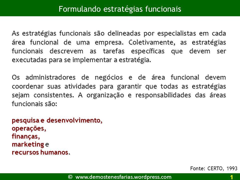 © www.demostenesfarias.wordpress.com Formulando estratégias funcionais 2 Pesquisa e desenvolvimento, (P&D) Em muitas indústrias, as organizações não podem crescer ou até mesmo sobreviver sem a criação de novos produtos.