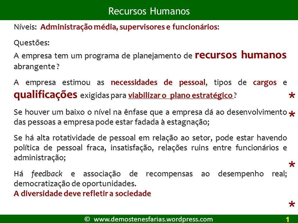 © www.demostenesfarias.wordpress.com Recursos Humanos 1 Níveis: Administração média, supervisores e funcionários: Questões: A empresa tem um programa de planejamento de recursos humanos abrangente .