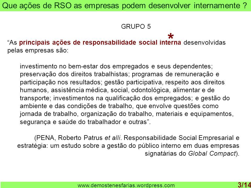 www.demostenesfarias.wordpress.com Que ações de RSO as empresas podem desenvolver internamente .