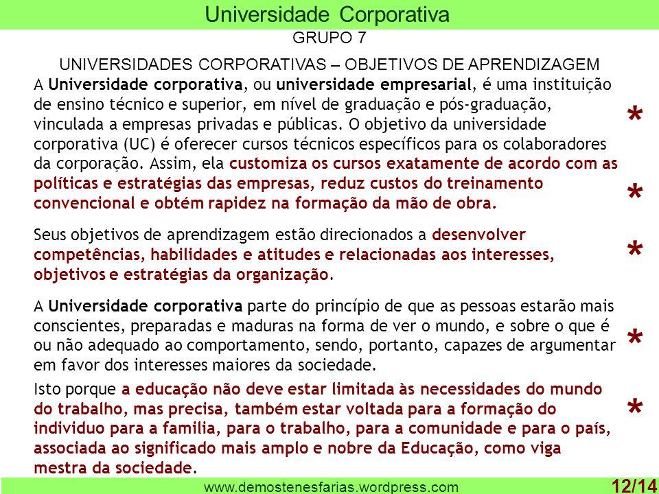 A Universidade corporativa, ou universidade empresarial, é uma instituição de ensino técnico e superior, em nível de graduação e pós-graduação, vinculada a empresas privadas e públicas.