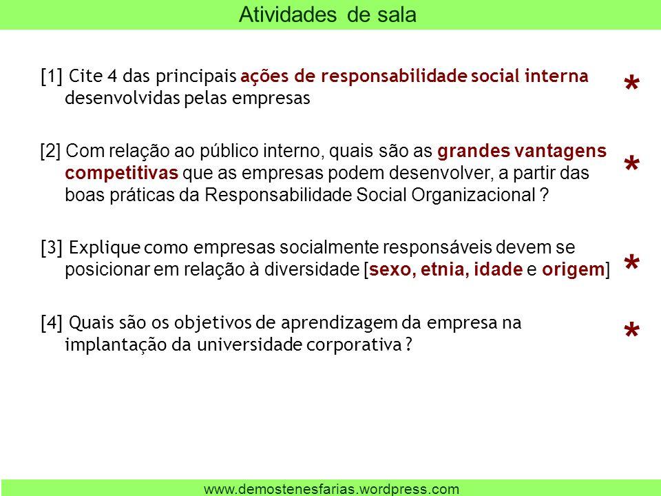 [1] Cite 4 das principais ações de responsabilidade social interna desenvolvidas pelas empresas [2] Com relação ao público interno, quais são as grandes vantagens competitivas que as empresas podem desenvolver, a partir das boas práticas da Responsabilidade Social Organizacional .