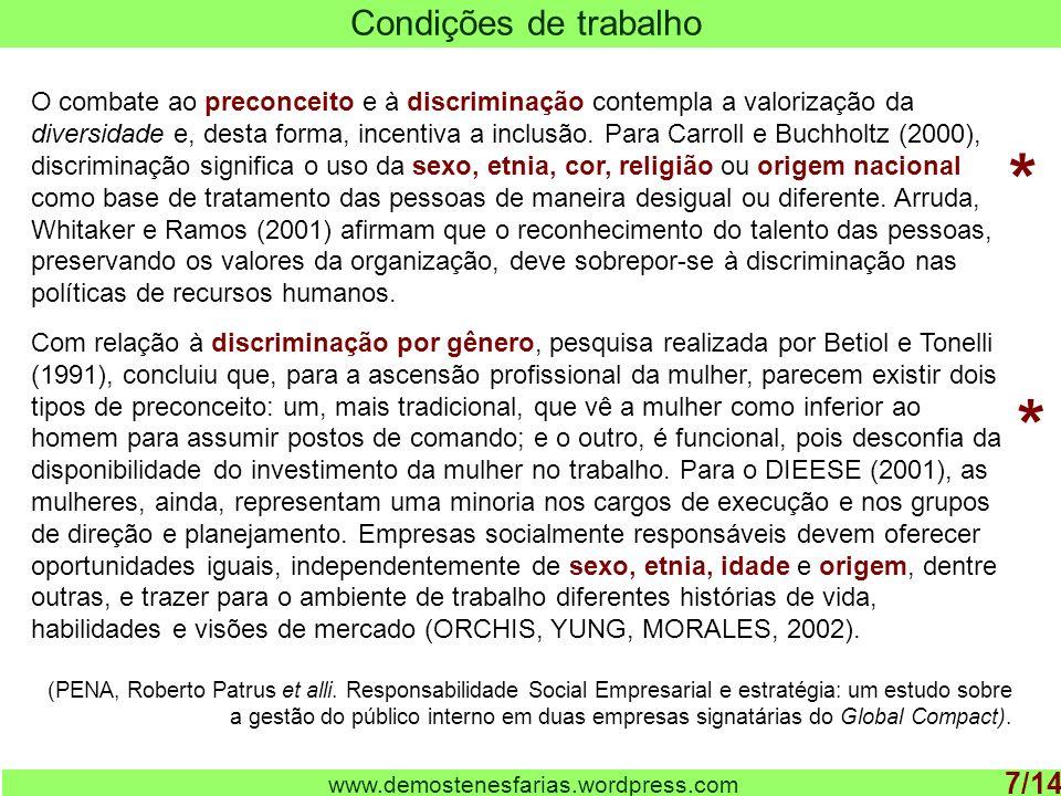 www.demostenesfarias.wordpress.com Condições de trabalho 7/14 O combate ao preconceito e à discriminação contempla a valorização da diversidade e, des