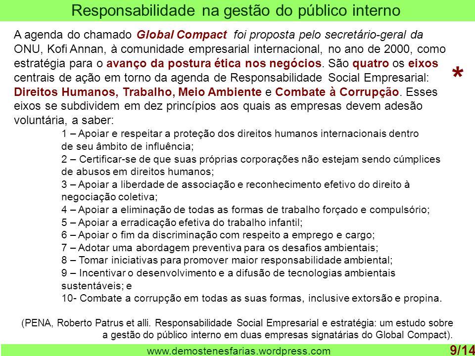 www.demostenesfarias.wordpress.com Responsabilidade na gestão do público interno 9/14 A agenda do chamado Global Compact foi proposta pelo secretário-