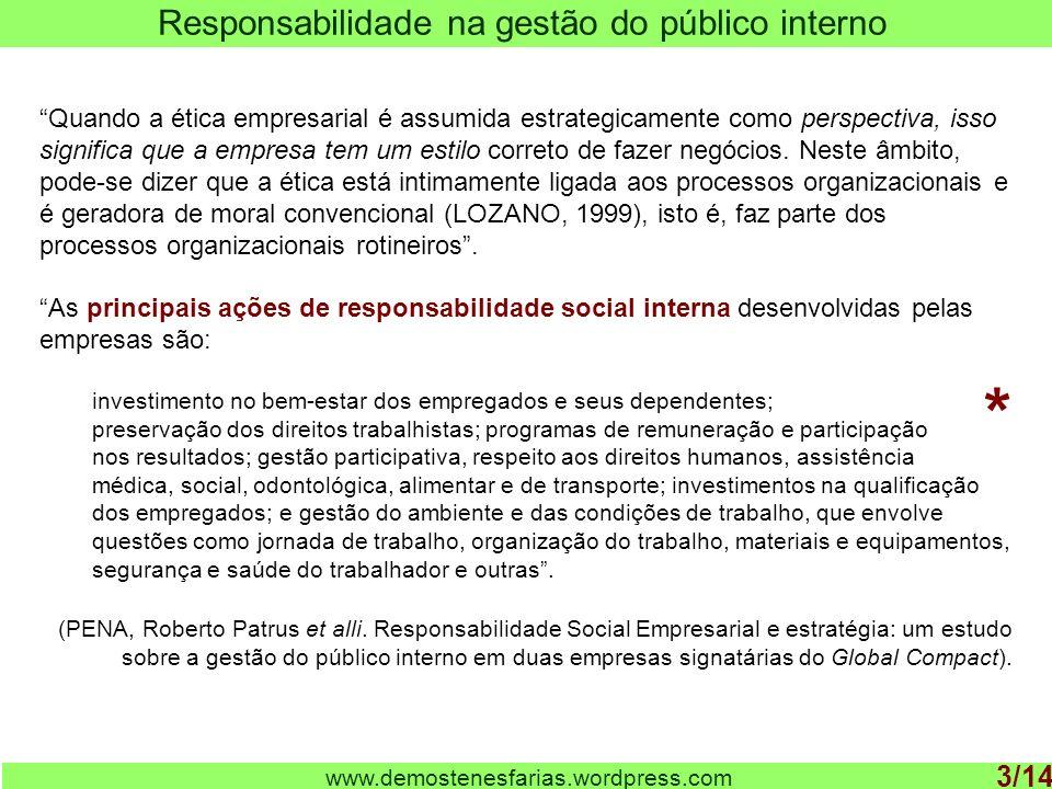 www.demostenesfarias.wordpress.com Responsabilidade na gestão do público interno 3/14 Quando a ética empresarial é assumida estrategicamente como pers