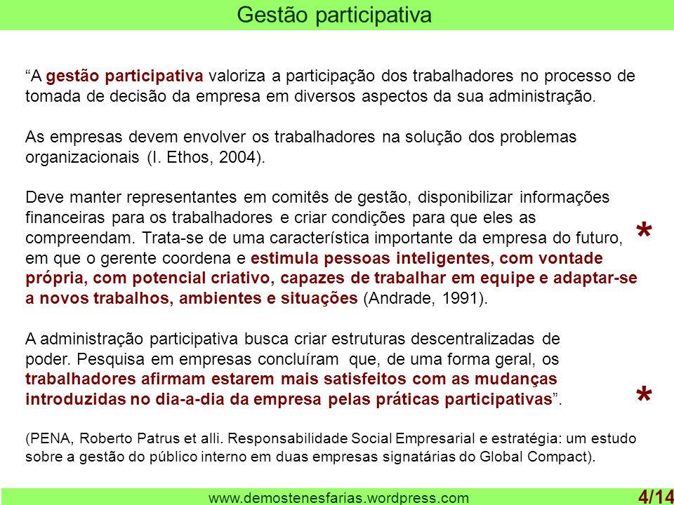 www.demostenesfarias.wordpress.com Gestão participativa 4/14 A gestão participativa valoriza a participação dos trabalhadores no processo de tomada de