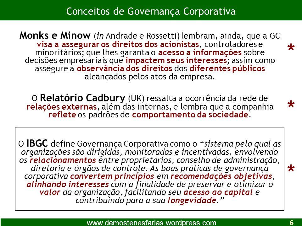 O IBGC define Governança Corporativa como o sistema pelo qual as organizações são dirigidas, monitoradas e incentivadas, envolvendo os relacionamentos entre proprietários, conselho de administração, diretoria e órgãos de controle.