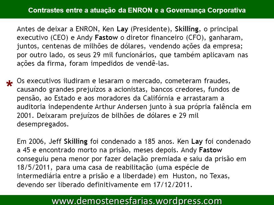 Atividade de sala [1] 12 www.demostenesfarias.wordpress.com Após assistir ao filme Enron, os mais espertos da sala, descreva, em algumas linhas, a fraude do citado escândalo corporativo.
