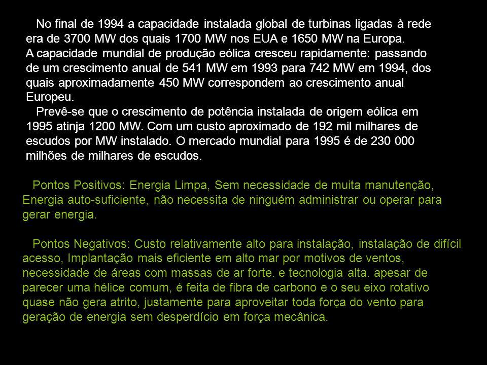 No final de 1994 a capacidade instalada global de turbinas ligadas à rede era de 3700 MW dos quais 1700 MW nos EUA e 1650 MW na Europa. A capacidade m