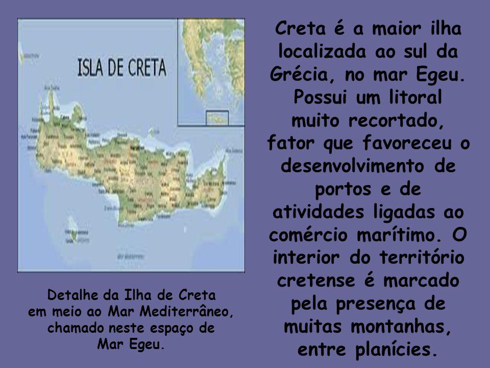 Creta é a maior ilha localizada ao sul da Grécia, no mar Egeu. Possui um litoral muito recortado, fator que favoreceu o desenvolvimento de portos e de