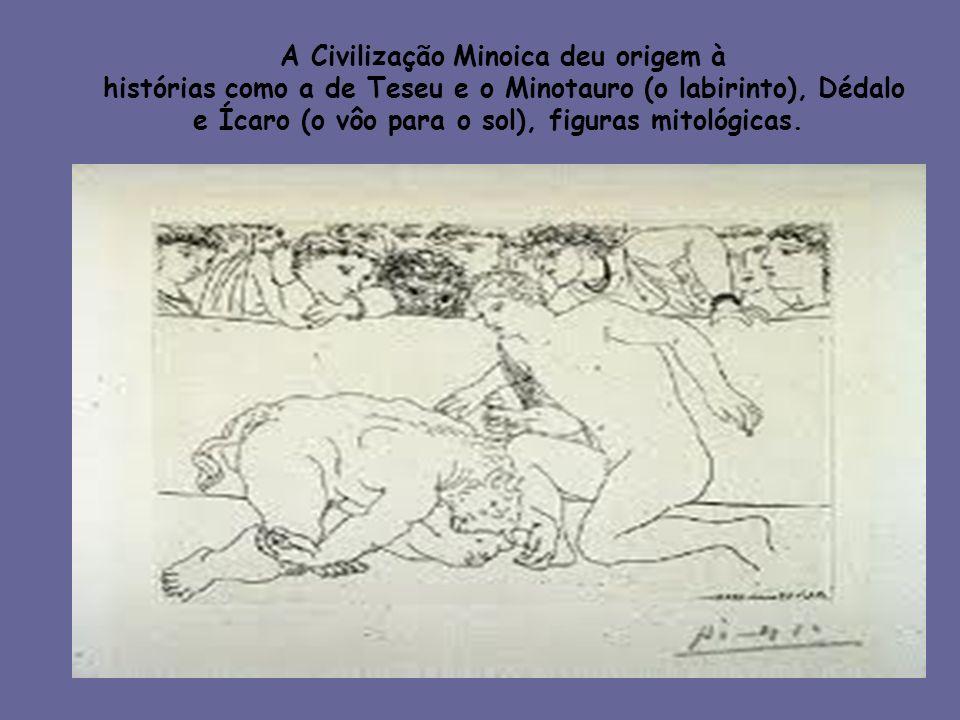 A Civilização Minoica deu origem à histórias como a de Teseu e o Minotauro (o labirinto), Dédalo e Ícaro (o vôo para o sol), figuras mitológicas.