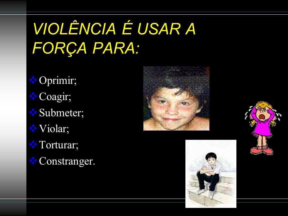 VIOLÊNCIA Ex:Apelidos de mau gosto... = violência verbal, gestos, ameaças Violência física