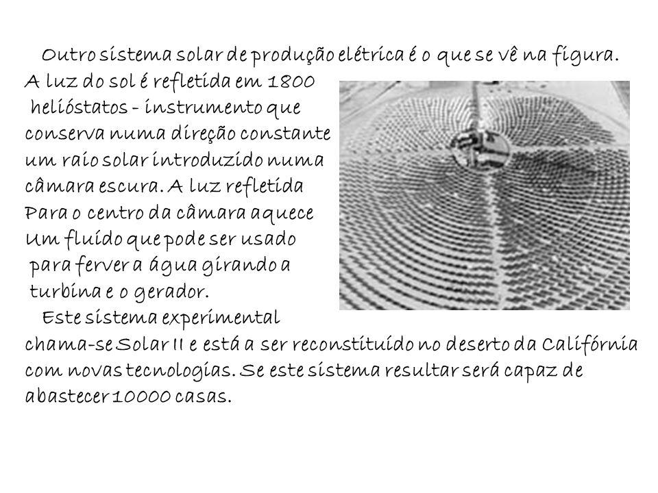 Outro sistema solar de produção elétrica é o que se vê na figura. A luz do sol é refletida em 1800 helióstatos - instrumento que conserva numa direção