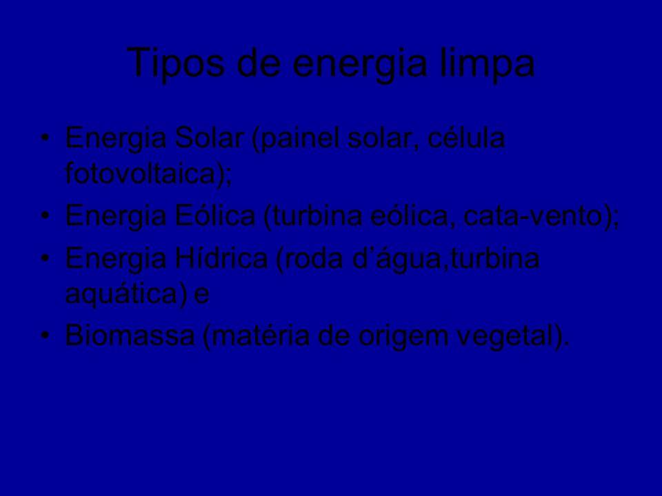 Tipos de energia limpa Energia Solar (painel solar, célula fotovoltaica); Energia Eólica (turbina eólica, cata-vento); Energia Hídrica (roda dágua,tur
