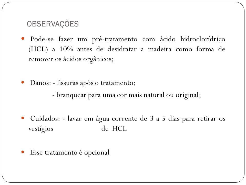 OBSERVAÇÕES Pode-se fazer um pré-tratamento com ácido hidroclorídrico (HCL) a 10% antes de desidratar a madeira como forma de remover os ácidos orgâni