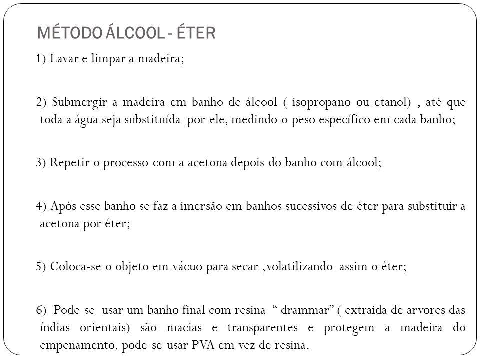 MÉTODO ÁLCOOL - ÉTER 1) Lavar e limpar a madeira; 2) Submergir a madeira em banho de álcool ( isopropano ou etanol), até que toda a água seja substitu