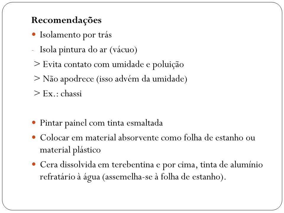 Recomendações Isolamento por trás - Isola pintura do ar (vácuo) > Evita contato com umidade e poluição > Não apodrece (isso advém da umidade) > Ex.: c