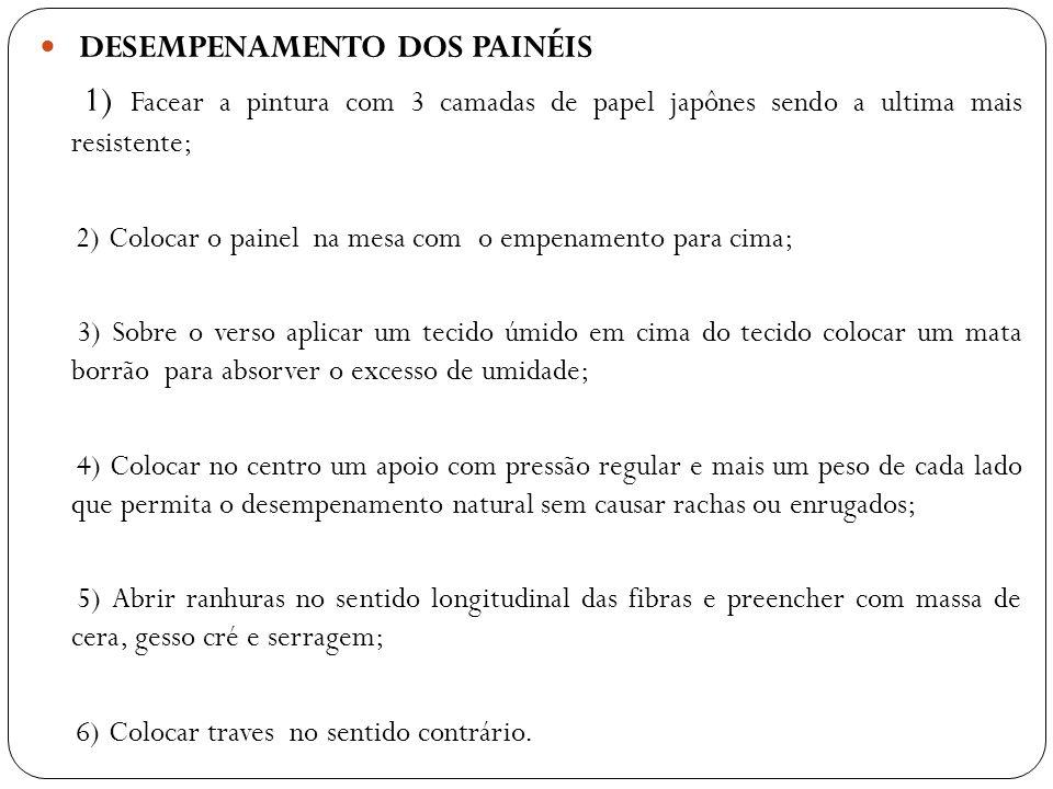 DESEMPENAMENTO DOS PAINÉIS 1) Facear a pintura com 3 camadas de papel japônes sendo a ultima mais resistente; 2) Colocar o painel na mesa com o empena