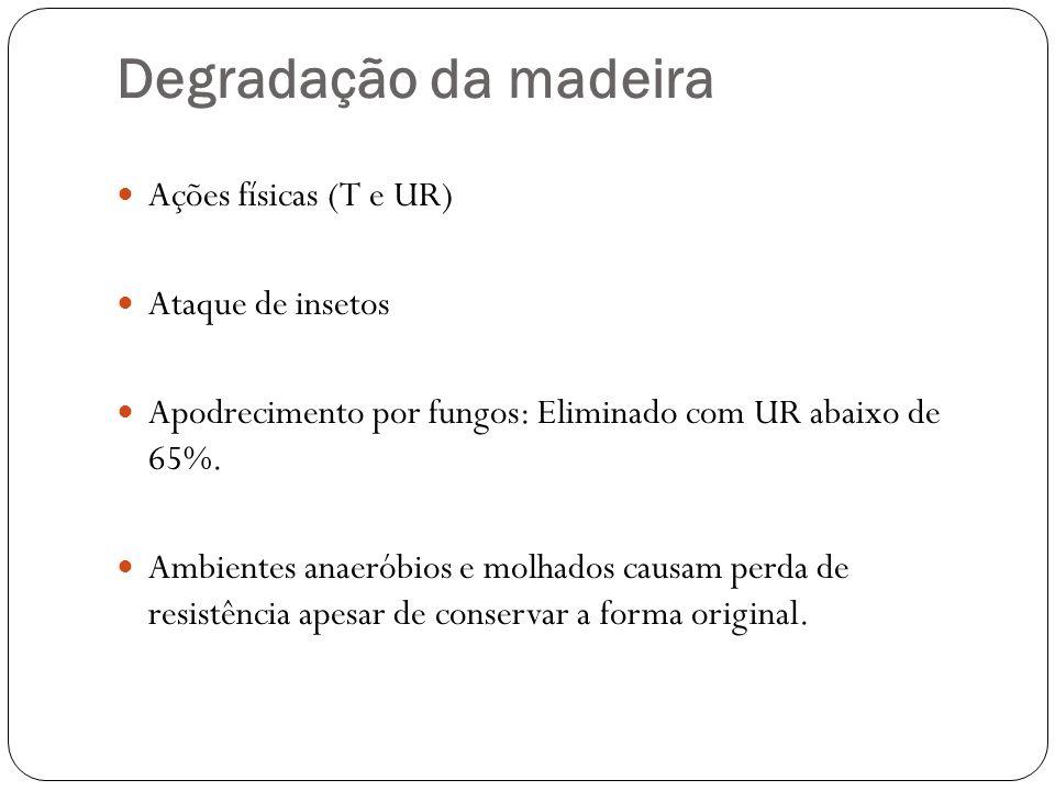 Degradação da madeira Ações físicas (T e UR) Ataque de insetos Apodrecimento por fungos: Eliminado com UR abaixo de 65%. Ambientes anaeróbios e molhad