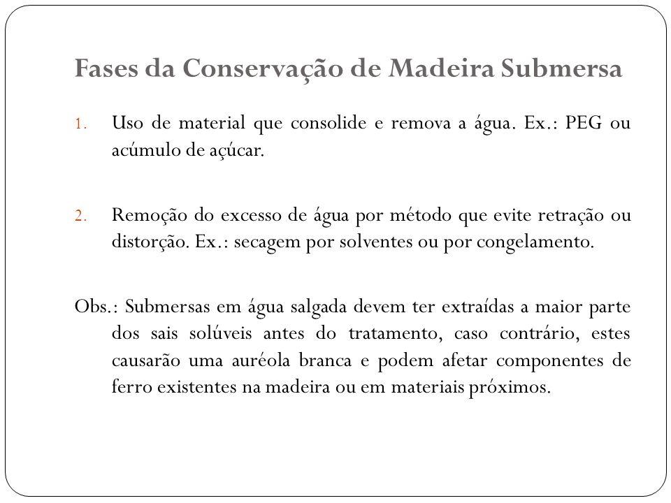 Fases da Conservação de Madeira Submersa 1. Uso de material que consolide e remova a água. Ex.: PEG ou acúmulo de açúcar. 2. Remoção do excesso de águ
