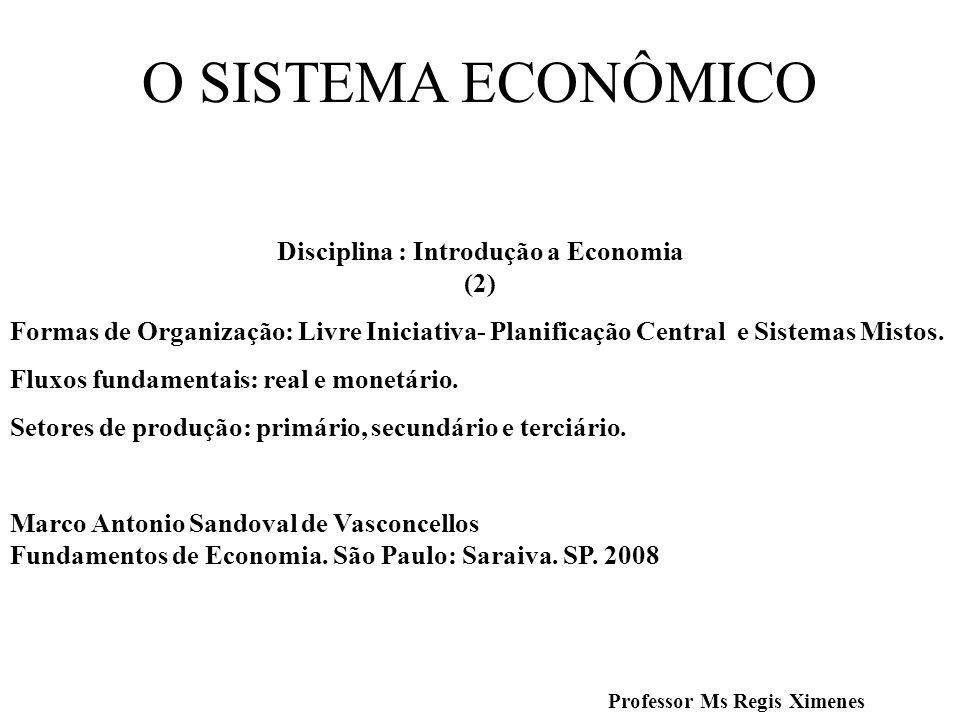 O SISTEMA ECONÔMICO Disciplina : Introdução a Economia (2) Formas de Organização: Livre Iniciativa- Planificação Central e Sistemas Mistos. Fluxos fun